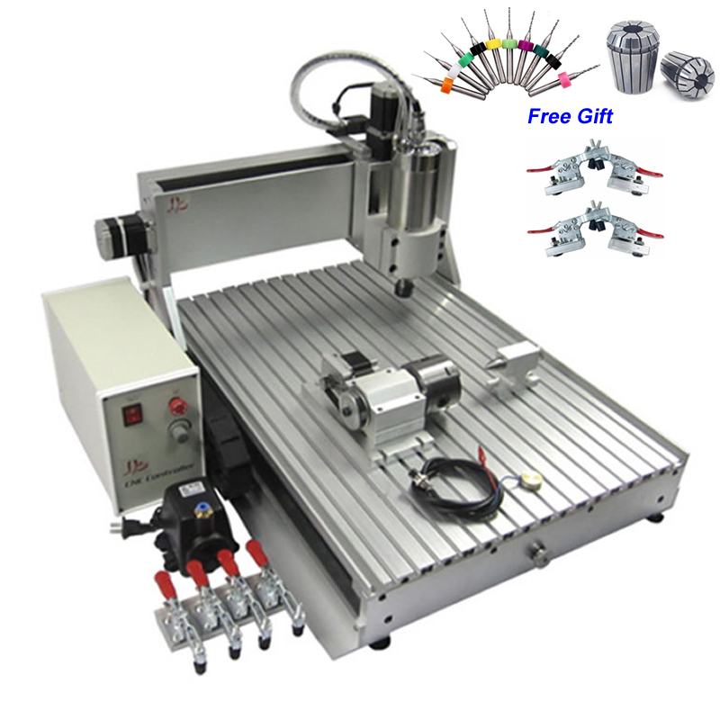 3D CNC Router Engraver 6090 4 Axis  Milling Machine 1.5KW  Spindle For Acrylic Wood Metal Cutting
