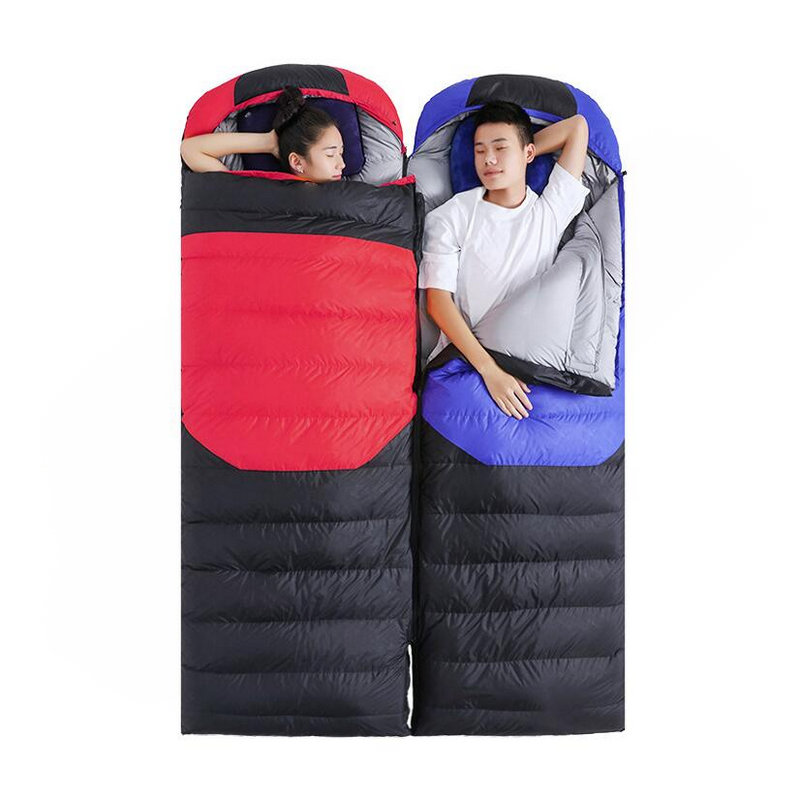 Outdoor Ultralight Camping Sleeping Bag Envelope White Duck Down Sleeping Bag Winter Hooded Splicing Sleeping Bag 1900g