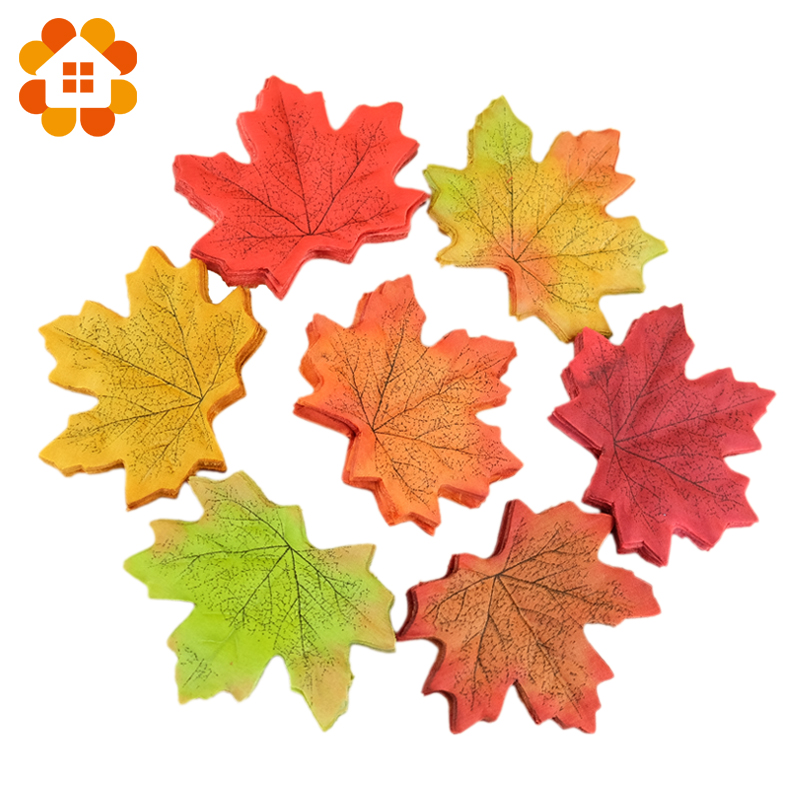 Hot sale 50pcs lot artifical maple leaves fake autumn fall for Artificial leaves for decoration