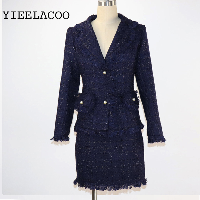 Dark blue Tweed women Jacket skirt suit Spring Autumn women s jacket 2 piece shorts suit