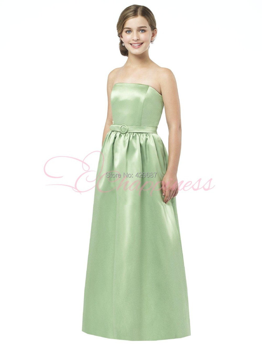 Aliexpress buy modest strapless satin mint green dresses aliexpress buy modest strapless satin mint green dresses maid of honor long floor length junior bridesmaid dresses um1700 from reliable dress with a ombrellifo Gallery
