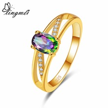 lingmei Wedding Band Bride Cocktail New Oval Cut Multicolor & Blue White Zircon Silver Yellow Gold Color Ring Size 6 7 8 9
