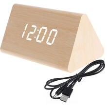 1pcs Creative Voice Control Alarm Clock Wooden Desk Clock LED Display USB Timer Digital Alarm Snooze Clock for Home Bedroom