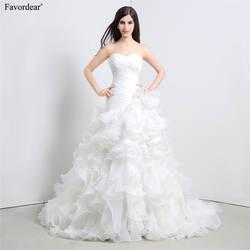 Favordear 2018 Vestido De Noiva развертки поезд зашнуровать развертки поезд Свадебные платья Новый Pleat Милая Свадебные платья