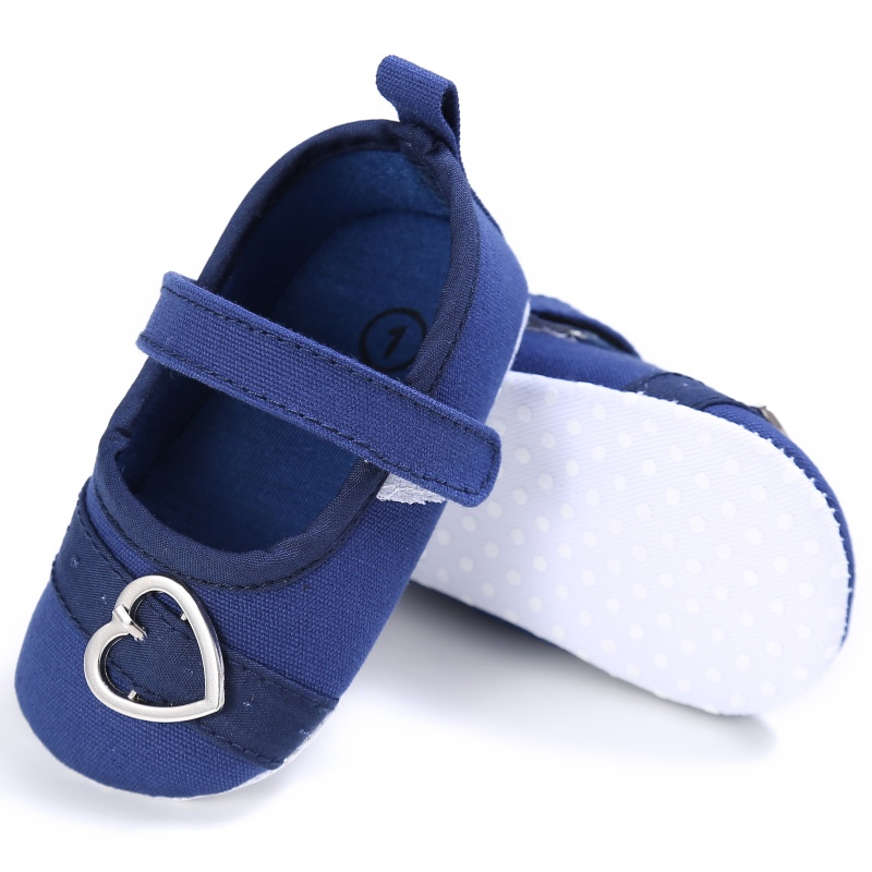 NewBorn Baby Girl Spring Baby Girls First Walkers Sweet Solid Color Heart Pattern Princess Anti-slip Newborn Cack Shoes