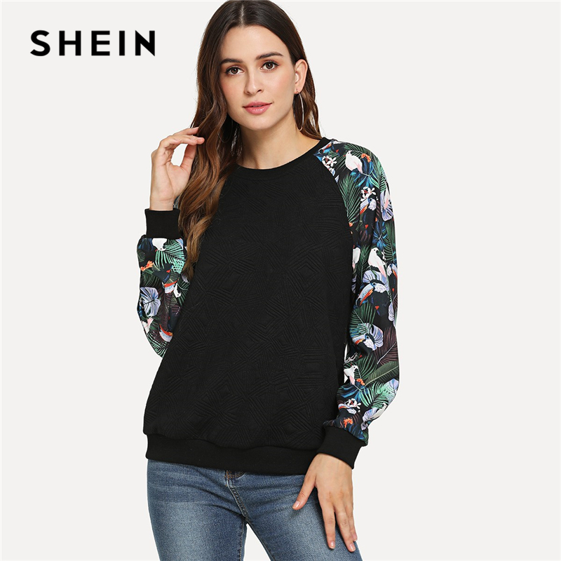 SHEIN Black Casual Tropical Print Raglan Sleeve Textured Round Neck Pullovers Sweatshirt Autumn Preppy Campus Women Sweatshirts