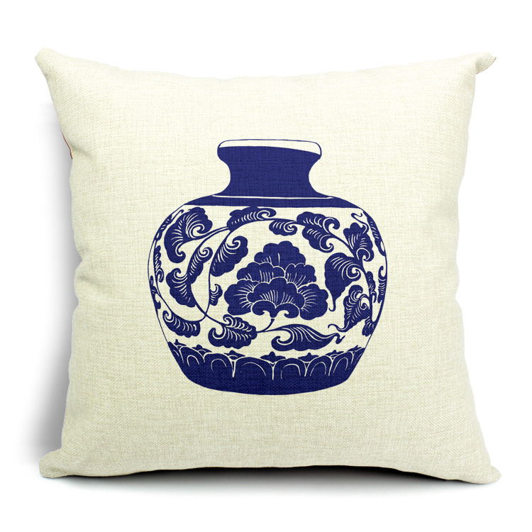 Classical Chinese Blue And White Porcelain Collection Pillows Emoji Euro  Home Decor Pillow Environment Enhance Gift