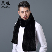 180cm Real Mink Fur Scarf Winter Men New fashion Male Solid Color Mink Scarf Collar Shawl Wraps Black Real Fur Scarves For Men