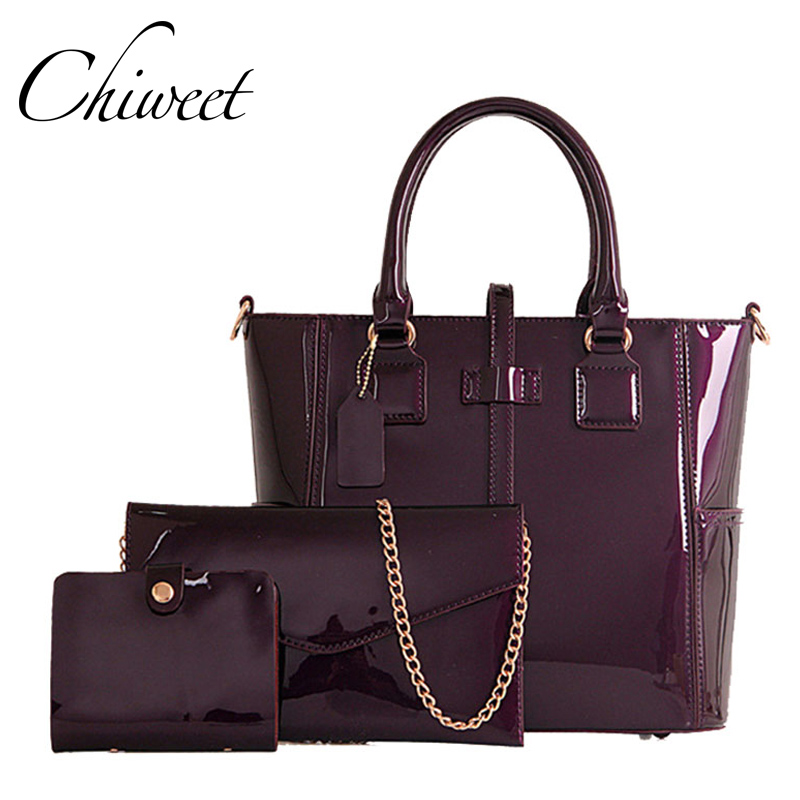 New Tote Patent Leather Handbags Composite Bag 3 Set Ladies Hand Bag  Shoulder Crossbody Women Envelope Messenger Bags Female zency new women genuine leather shoulder bag female long strap crossbody messenger tote bags handbags ladies satchel for girls