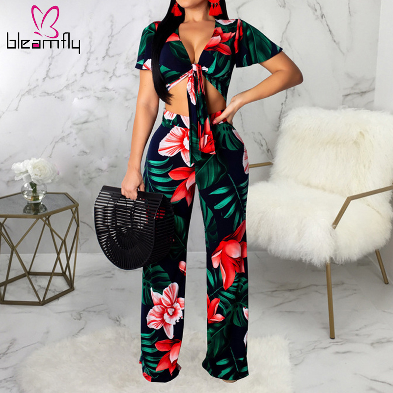 Boho Flower Printed Two Pieces Set   Jumpsuit   Women V Neck Vintage Elegant   Jumpsuit   Wide Leg Rompers Party Overalls Body Mujer