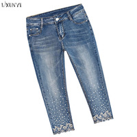 LXUNYI Capri Pants Women Plus Size Skinny jeans Woman High Waist Ripped Rhinestone Stretch Pencil Jeans Calf Length Pants XS 8XL