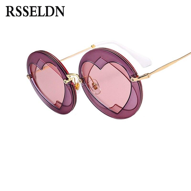 RSSELDN Verão Amoroso Coração Estilo Óculos de Sol Da Marca Rodada Óculos De Sol Das Mulheres Populares Senhora Shades Moda Óculos Femininos Do Vintage