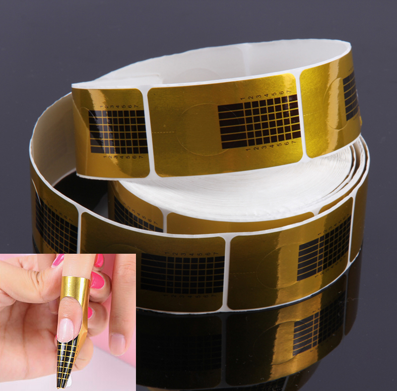 100pcs/pack Nail Art Guide Form Sticker Acrylic UV Gel Tip Extension Nail Tool Golden Nail Paper Hoder ZT-F-01