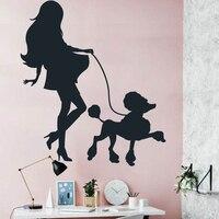 여자 개 벽 스티커 diy 벽 데칼 쉽게 벽 예술 벽화 현대 패턴 컷 비닐 홈 장식 컷 사람들이 동물 아이
