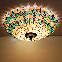 LED 16/20/24 inch Mediterranean Natural Shell Round Ceiling Light, Tiffany Seashell Ceiling Lamp Home Decor Lighting Fixtures