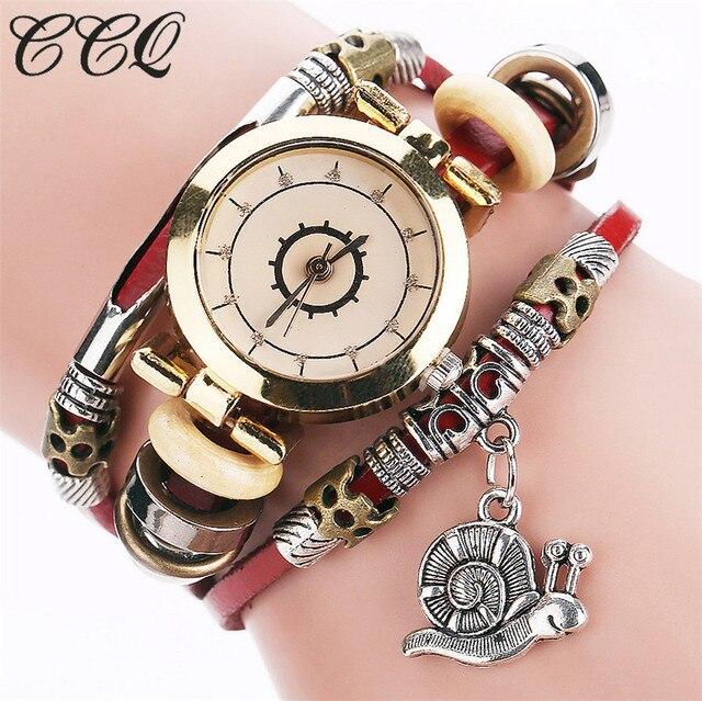 CCQ Brand Fashion Vintage Cow Leather Bracelet Watch Casual Women Snail Pendant