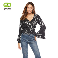 GOPLUS Women Chiffon Blouse Tops Sexy V Neck Floral Print Long Flare Sleeve Shirts Tops Ruffles Blouse Blusa Feminina 2019