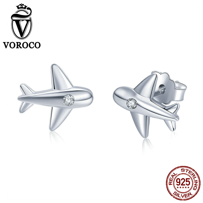 VOROCO Authentic 100% 925 Sterling Silver Cute Tiny Airplane Stud Earrings Woman Girl CZ Zircon Silver Earrings Jewelry VSE153