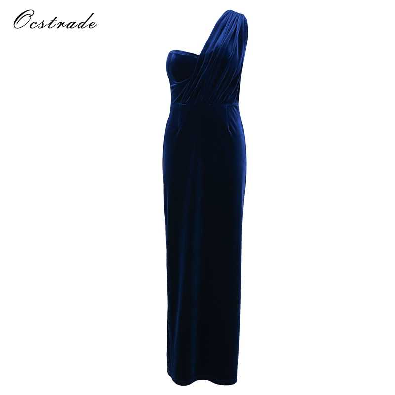 1e602944d35 Detail Feedback Questions about Ocstrade Christmas Evening Party Long Dress  2017 New Sexy Side Slit Teal One Shoulder Womens Velvet Maxi Dress on ...
