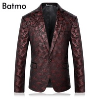 Batmo 2017 new arrival high quality velvet plaid wine red casual suits men,casual men's blazer ,plus size M 4XL 8682