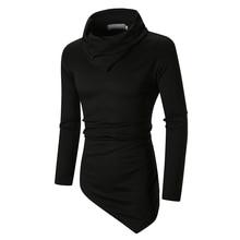 New Design Men's Irregular Stack collar long sleeve Knitted Sweater Slim Fit Jumper Pullover Blouse Tops Shirt