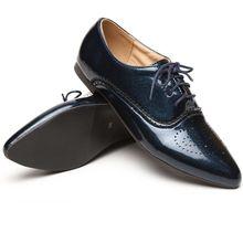 แบรนด์แฟชั่นใหม่ผู้หญิงเคลือบเงาO Xfordsสีดำสีฟ้าสีขาวหญิงb rogueรองเท้าส้นต่ำASP51-5พลัสขนาดใหญ่32 43 10