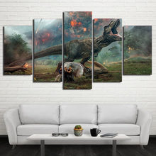 HD Printed 5 Piece Canvas Art Jurassic World 2 Volcanic Eruptions Canvas Prints Dinosaur Wall Pictures For Kids Room Decoration(China)