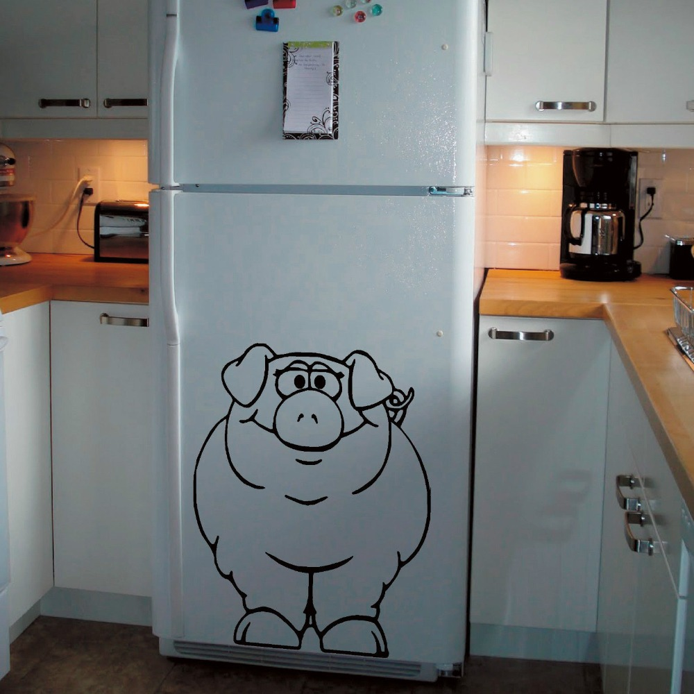 PIG FRIDGE PIG Vinyl Decal Art Animal Wall Sticker Home Decor ...