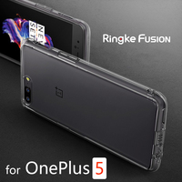 100 Original Ringke Fusion OnePlue 5 Case Crystal Clear PC Back Certified Military Grade Drop Protection