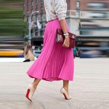 Европейский Street Style Женщины Юбки Line Чай Длина Плиссированные Юбки С Lining Мода Плиссированные Шифоновые Юбки