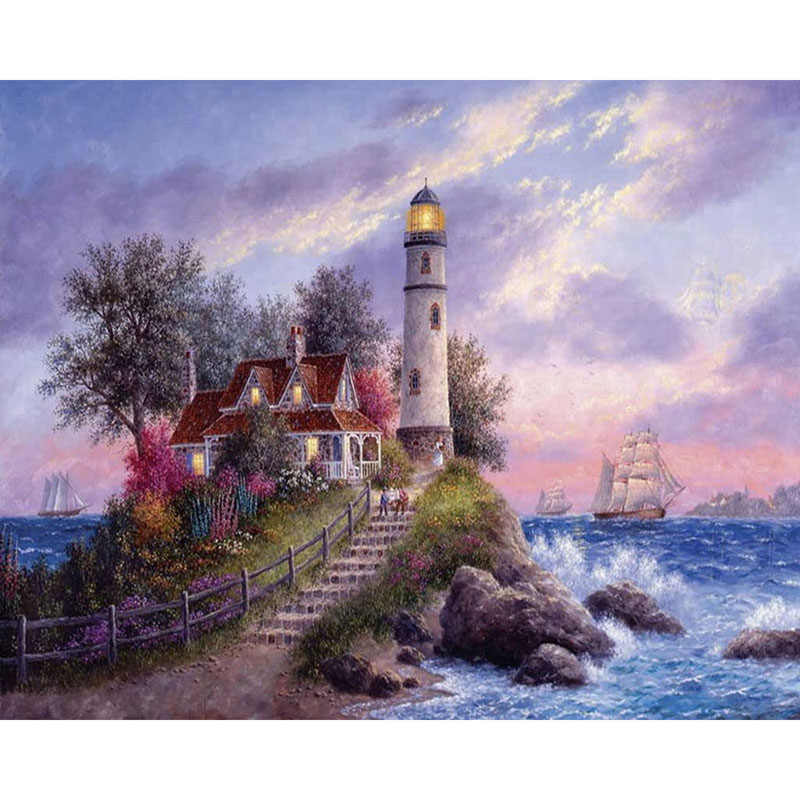 Square/Round Drill,5D DIY Diamond Painting lighthouse sea 3D Embroidery Cross Stitch Mosaic Full Picture Of Rhinestone Decor