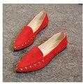 2016 primavera y otoño nueva boca baja señaló remache plana trabajo pisaron Guisantes zapatos de onda casual de las mujeres