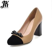 JK Stitching High Heels Women Pumps Butterfly Knot Square Heels Shallow Slip  On Footwear Spring Fashion Block Heeled Ladies Shoe c44d84da3770