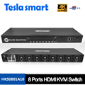 New High Quality KVM USB HDMI Switch 8 Port KVM HDMI Switcher KVM Switch HDMI Support 3840*2160/4K 2 Pcs Rack Ears Standard 1U
