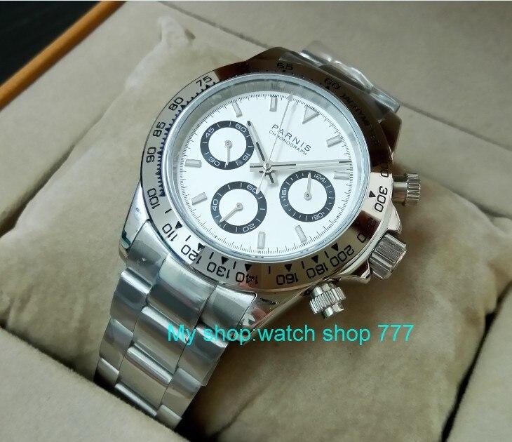 Saphir Cristal 39mm PARNIS Japonais mouvement à quartz hommes de montre Multi-fonction quartz montres 5Bar pa25 - 4