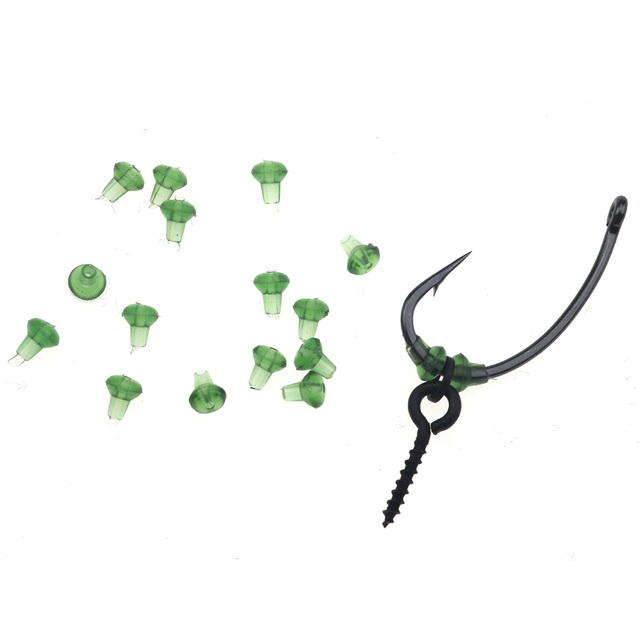Rompin 50pcs Hook Stops Beads Carp Fishing Accessories Stopper Green Black Carp Fishing Hair Chod Ronnie Rig Pop UP Boilie Stop