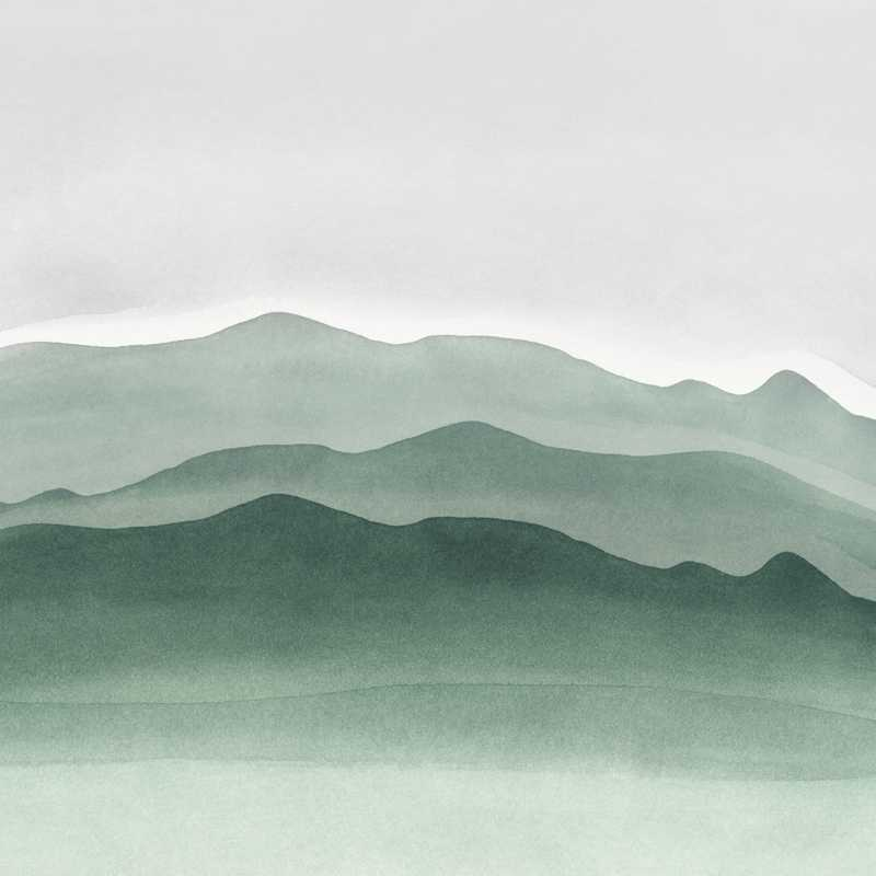Abstract Art Sage Green and Gray Prints Watercolor Mountains Canvas Painting Wall Picture Nature Art Home Decor