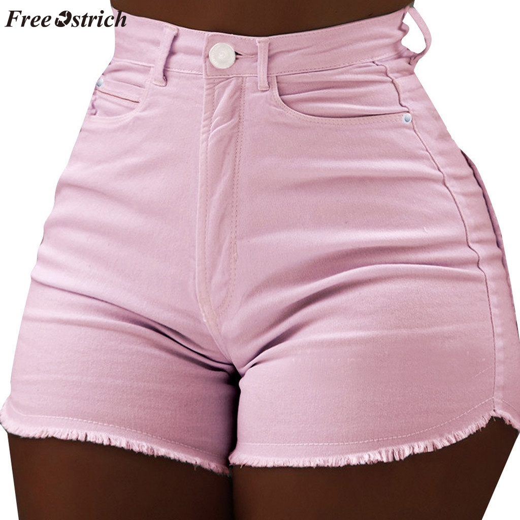 FREE OSTRICH 2019 new Ladies fashion trend summer casual solid color high waist slim pockets hot   short   raw denim   shorts   hot sale