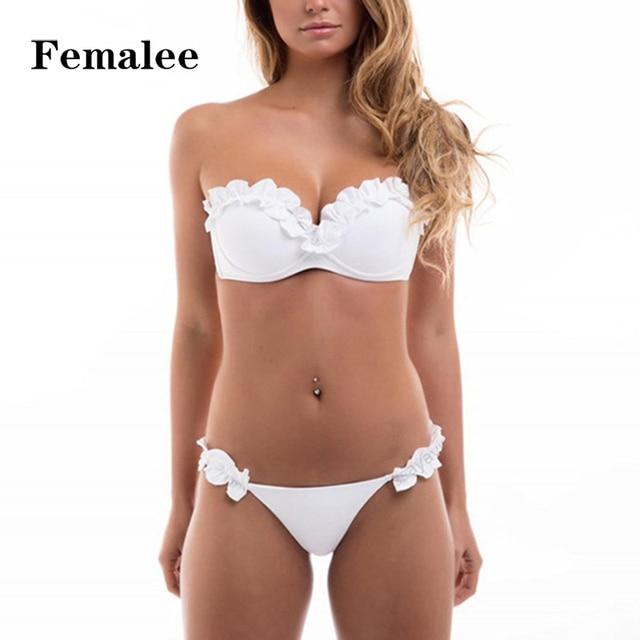 e7c82c894b FEMALEE Bandeau Flouncing Bikini Push Up Swimwear Strapless Bandage 3D  Flower Petal Two Pieces Bathing Suits Maillot De Bain