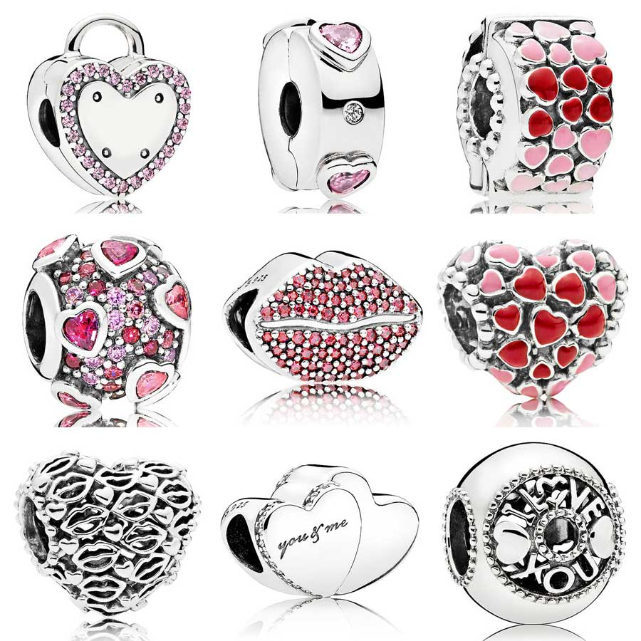 Burst Explosion Of Love & Kiss More Two Hearts Lock Your Promise Charm Fit Pandora Bracelet 925 Sterling Silver Bead DIY Jewelry