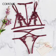 COLROVIE Burgundy Appliques Harness Lingerie Set With Choker Sexy Women Intimates
