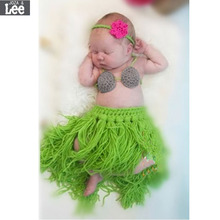 2017 Baby Girl 3 Pieces Photo Prop Costume Photography Prop Knitted Crochet Headband Bra and Skirt Set