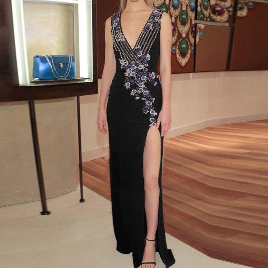 Piste Manches Sans Split Femmes Offre Robe Mode Gaine De Noir V Spéciale Printemps Robes Longues Broderie 2019 Sexy Fleurs Noble cou dqq7P