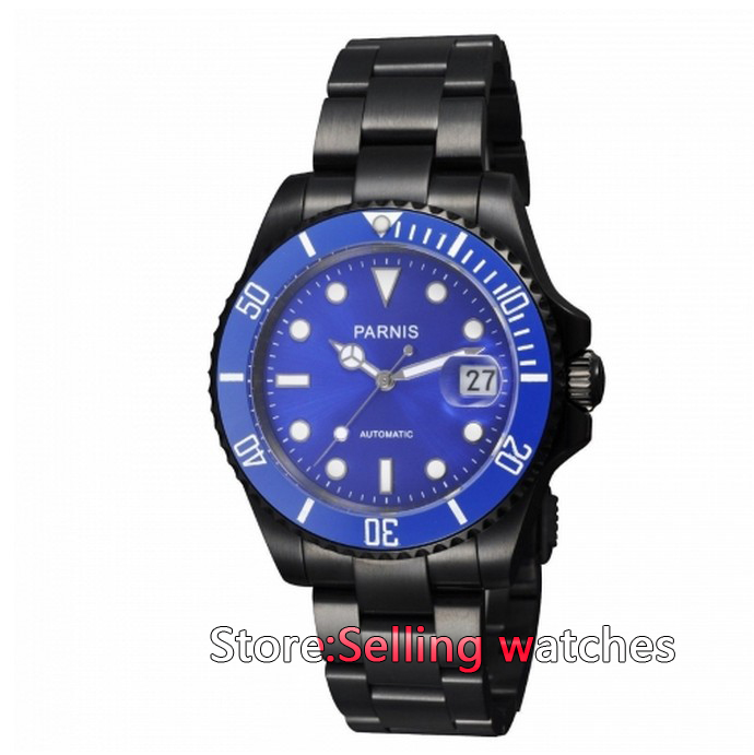 40mm Parnis PVD case Ceramic Bezel blue dial Luminous Mark Automatic Men Watch цена