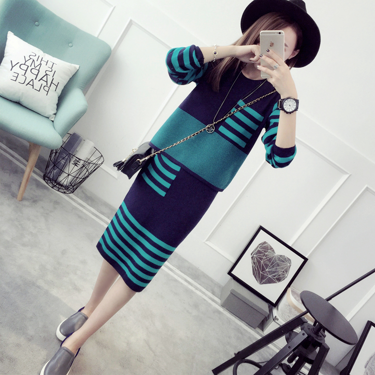 Autumn Women 2PCs Set Women Sweater Skirt Casual Striped Long Sleeve Knitted Pullover Jumper Package Hip
