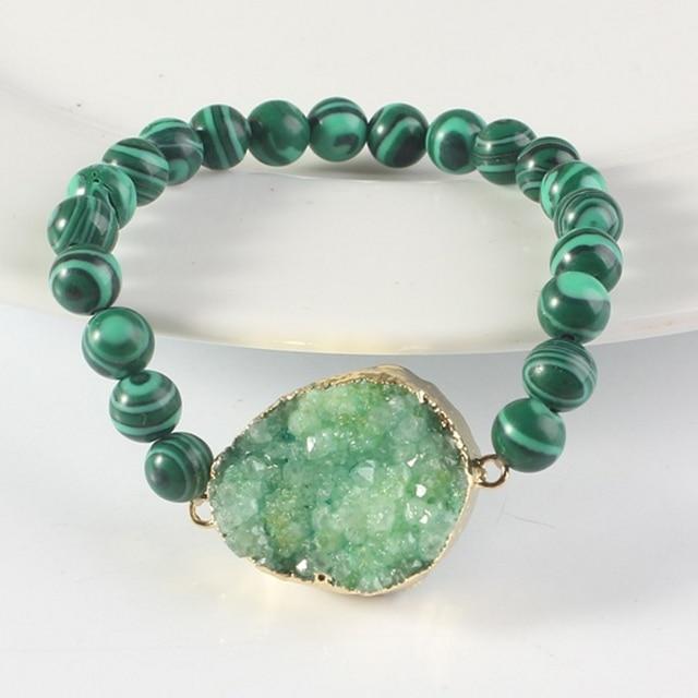 100-Unique 1 Pcs Malachite Perle Ronde Bracelet Vert Onyx Pierre Connecteur Bracelets  Bijoux Cadeau b41f8865e2d2