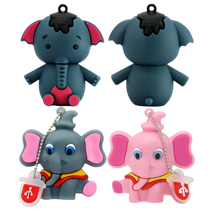 New Arrive Mini Pen Drive Cartoon Animal Elephant Gift Pen Drive 16G 32G 64GB Keychain Cartoon Elephant Usb Flash Drive Pendrive
