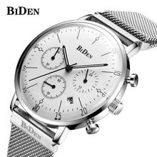 BIDEN luxe hommes montres hommes Quartz Ultra mince horloge mâle étanche sport montres décontracté montre-bracelet relogio masculino