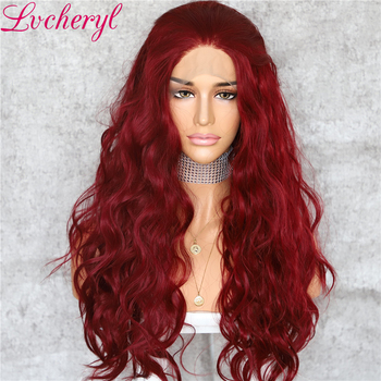 Lvcheryl Red Color Heat Resistant Hair Wigs Party Wigs Natural Wavy Synthetic Lace Front Wigs for Women Wear