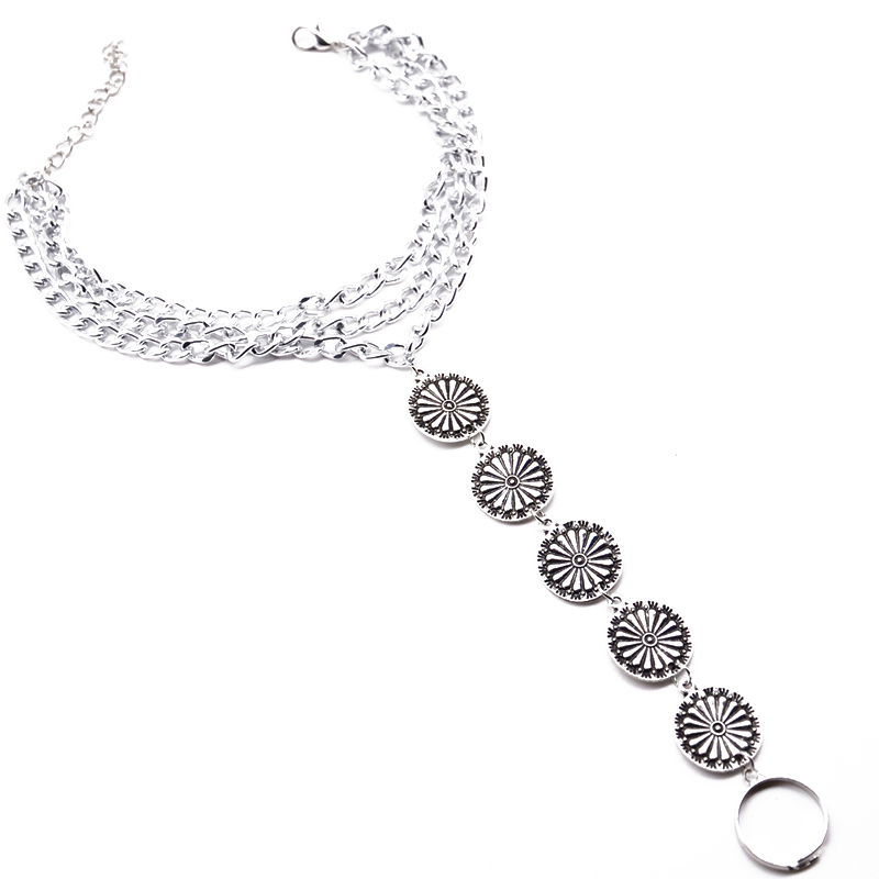Shellhard Adjustable Vintage Anklet Silver Retro Antique Coin Barefoot Sandal Foot Thong Anklet Toe Ring For Women Jewelry Chain